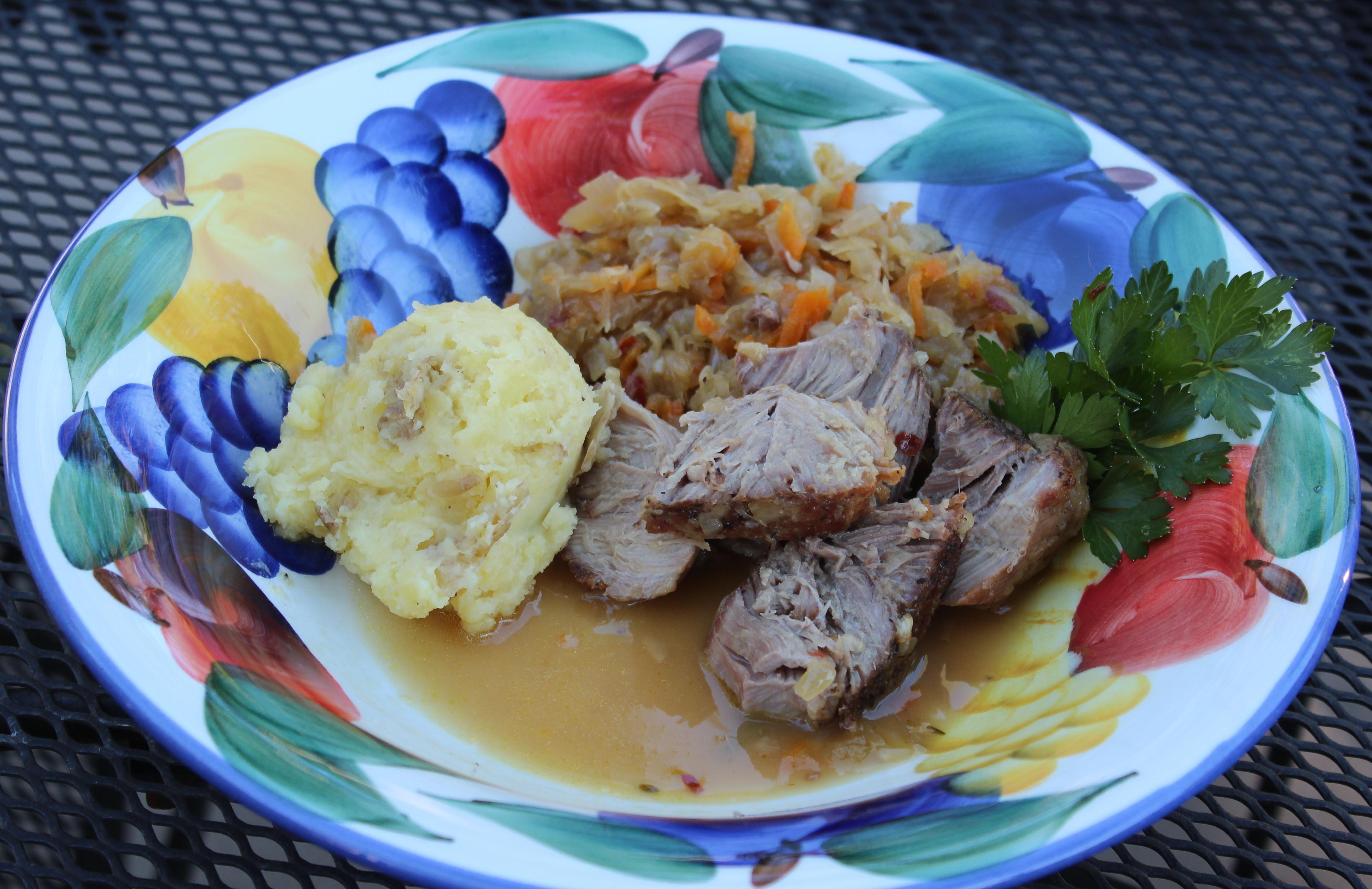 apple cider braised pork shoulder w sauerkraut jeanne s cuisine