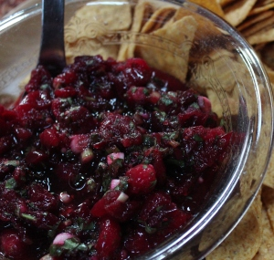 Cranberry salsa to accompany the turkey or with chips as an appetizer.  Always a hit.