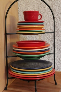 Mamaw's Fiestaware takes its place in the new kitchen.